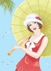 Woman with umbrella happy pic